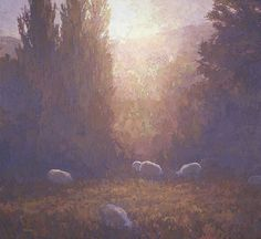 Sheep at Sundown, Lesvos (large) 42 x 46 inches, oil on hemp canvas On Nature's Terms: Paintings of Thomas Paquettte