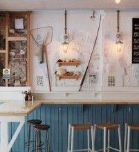 a concept so simple and beautiful // The Fish Shop - Sibella Court Diy Interior Doors, Cafe Interior, Shop Interior Design, Retail Design, Seafood Restaurant, Cafe Restaurant, Restaurant Design, Small Wall Lights, Café Bistro