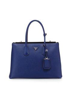 Prada Saffiano Cuir Twin Bag, Ink Blue (Inchiostro)