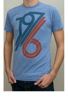 t-shirt, 1976 athletic blue