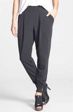 NWT Eileen Fisher Charcoal Cozy Viscose Pleated Slouchy Ankle Pants Size XS…