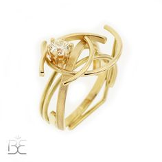 Ring with diamond, 18 ct yellow gold, contemporary, handmade by Sabine Eekels