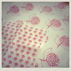 My Protea print on fabric and wall paper!