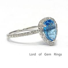 $389 Pear Blue Topaz Engagement Ring Pave Diamond Wedding 14K White Gold,6x8mm