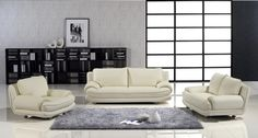 Modern Ivory Leather Sofa Couch Loveseat Chair Tufted Living Room Set