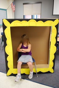Adventures of an Art Teacher: Giant Box Turned Frame Party Box, Art Party, Middle School Art, Art School, School Games, High School, Night At The Museum, Ecole Art, School Art Projects