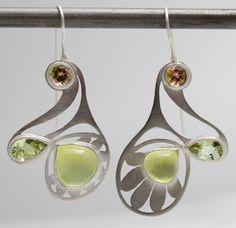 Rose Sunflower Earrings. Bi-color Tourmalines, chrysoberyl, prehnite, sterling.