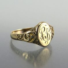Vintage+Women's+Signet+Rings | Antique Victorian 14k Gold Signet Ring LB Initials