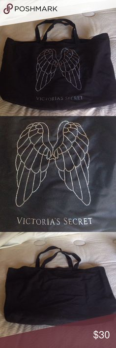Victoria's Secret Angel Wings Tote VS Tote with sparkly angel wings and VS logo in the front. Plain black in the back. Victoria's Secret Bags Totes