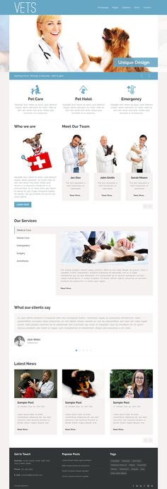Veterinary Medical Health Clinic Template #pets #doctors #clinics #dentists #website
