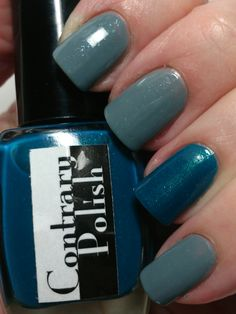 Contrary Polish Ain't No Sunshine with Contrary Polish Surf accent nail #nailpolish