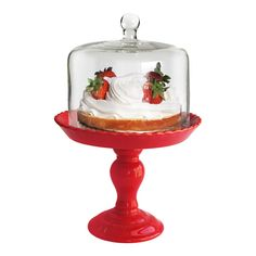 Stella Pedestal Cake Plate in Red
