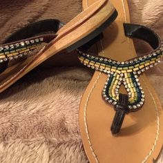 Flip Flops dressy Beautiful sparkle. Sandals comfortable worn once u would love these they could worn as dress up or down Skemo Shoes