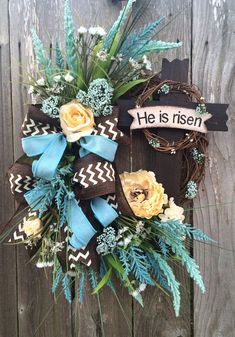 Easter Wreath Spring Wreath Cross Wreath Easter by BaBamWreaths