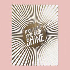 Shiny New Year holiday letterpress greeting card