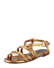 Marni Strappy Metallic Leather Sandal, Gold