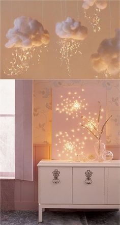 18 magical ways to use string lights to add warmth and beauty to your home: great ideas for holiday decorations and everyday cheer! #EverydayArtsandCrafts