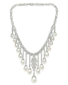 An Art Deco Natural and Cultured Pearl and Diamond Necklace