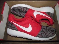 Nike Roshe Run Print Mens Shoes University Red Black White 655206 616 #Nike #FashionSneakers