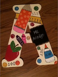 Letter door hanger for teacher by on Etsy Teacher Door Hangers, Letter Door Hangers, Initial Door Hanger, Teacher Doors, Teacher Appreciation Gifts, Teacher Gifts, School Projects, Craft Projects, Teacher Name Plates
