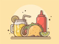 Lemonade taco and ketchup Top fast food illustrations, fast food drawing inspiration, best cartoon illustrator design by catalystivbes Episode Backgrounds, Cute Wallpaper Backgrounds, Cute Wallpapers, Rose Wallpaper, Taco Drawing, Food Drawing, Ketchup, Coffee Shop Logo, Fast Food