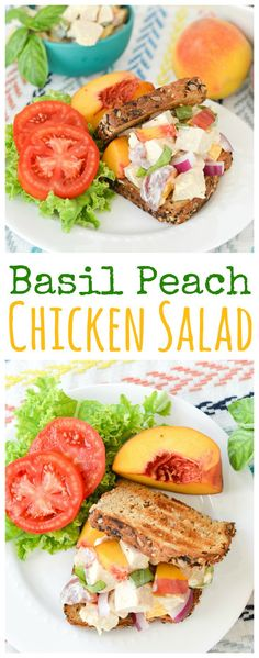This chicken salad is bursting with the fresh summer flavors of ripe peaches and spicy fresh basil!