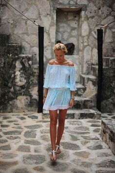 off the shoulder blue dress