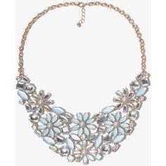 FOREVER 21 Bejeweled Flower Bib Necklace ($15) ❤ liked on Polyvore