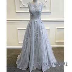 Beautiful round neck grey lace tulle long modest prom dress for teens, homecoming dress 2016
