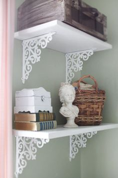 Shelf Bracket / Set of Two / / Cast Iron / Cottage Shabby Chic from TheChicDecorShop. Saved to Home Decor. Shabby Chic Shelves, Shabby Chic Office, Indian Home Decor, Diy Home Decor, Room Decor, Decorative Shelf Brackets, Shelving Brackets, Boutique Interior, Home Office Space