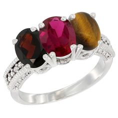 14K White Gold Natural Garnet, Enhanced Ruby and Natural Tiger Eye Ring 3-Stone 7x5 mm Oval Diamond Accent, sizes 5 - 10 >>> Check out this great image  : Jewelry Ring Bands
