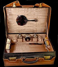 Antique Travel Valise, Suitcase, with Fitted Jars, Brushes, Mirrors of English Sterling and Tortoise Shell/rubylane $2,368.00