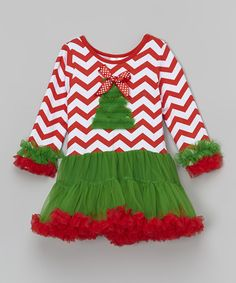 This Red & Green Christmas Tree Tutu Dress - Infant, Toddler & Girls by The Princess Pea is perfect! #zulilyfinds