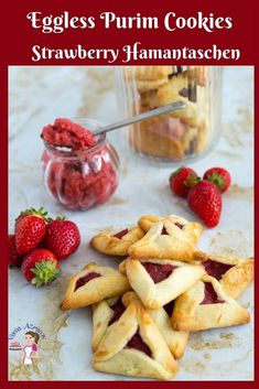 Don't miss out of Purim cookies due to allergy make these eggless Hamantaschen Cookies with strawberry filling inside. Don't miss out of Purim cookies due to allergy make these eggless Hamantaschen Cookies with strawberry filling inside. Purim Cookie Recipe, Easy Cookie Recipes, Baking Recipes, Dessert Recipes, Eggless Recipes, Scone Recipes, Bar Recipes, Veggie Recipes, Appetizer Recipes