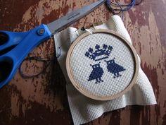 royal owls diy cross-stitch kit (new colorway). $10.00, via Etsy.