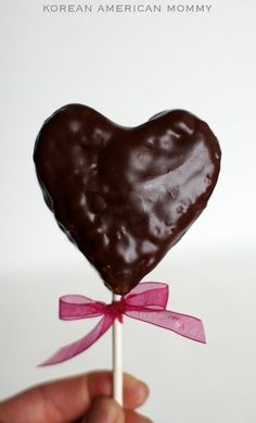 Chocolate covered rice crispy treat. Cute idea for Valentine's Day. I think I'll do this for Jake's agents at work.