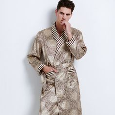 Click to Buy    High Quality Autumn Men 100% Silk Sleepwear Robes.    33b2bc9d3