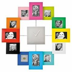 Photo Frame Wall Clock, multi colour