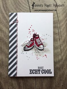 jpp – Coole Sneaker Karte mit Schnürsenkeln für Teenager / card for teens / gu… jpp – cool sneaker card for teens / card for teens / guycards / sneakers / shoelaces / Stampin 'Up! Berlin / Real cool / Epic Celebrations / www. Masculine Birthday Cards, Birthday Cards For Men, Handmade Birthday Cards, Masculine Cards, Birthday Greeting Cards, Handmade Cards, Crafts For Teens To Make, Diy For Teens, Boy Cards