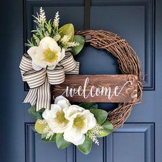 Magnolia Wreath - Spring Wreaths for Front Door - Spring Swag - Everyday Wreath - Summer Wreaths for Front Door - Magnolia Farmhouse Wreath Magnolia Wreath Fall Door Decor Shabby Chic Wreath Diy Spring Wreath, Spring Door Wreaths, Diy Wreath, Grapevine Wreath, Wreath Ideas, Christmas Wreaths, Mesh Wreaths, Shabby Chic Wreath, Flip Flop Wreaths
