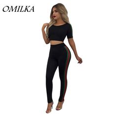 OMILKA 2017 Summer Women Side Striped Patchwork Crop Top And Long Pant Set Casual Black Blue Red Plus Size 2 Piece Clothing Set