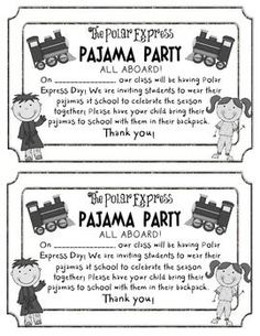 FREEBIE Polar Express Pajama Party Invite- change wording so kids wear their pj's to school Polar Express Activities, Polar Express Theme, Polar Express Crafts, Classroom Fun, Classroom Activities, Classroom Crafts, Preschool Ideas, Teaching Ideas, Party Activities