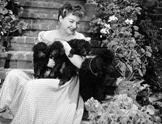 Anne Baxter and her poodles
