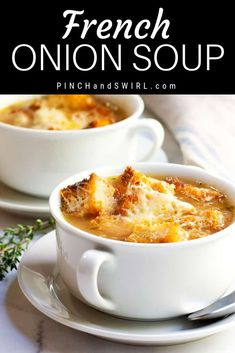 An easy and authentic French Onion Soup recipe inspired by Julia Child from her famous book Mastering the Art of French Cooking. Healthy homemade comfort food is always best! Onion Soup Recipes, Best Soup Recipes, Healthy Soup Recipes, Gourmet Recipes, Cooking Recipes, Chili Recipes, Easy Onion Soup Recipe, Classic French Onion Soup, Turkey Soup