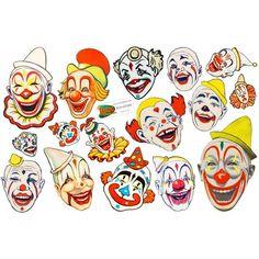 Creepy Clown Faces Circus Vinyl Sticker Set of 16 Creepy Clown Makeup, Gruseliger Clown, Cute Clown, Vintage Circus Party, Vintage Clown, Vintage Circus Posters, Vintage Carnival, Creepy Circus, Scary Clowns