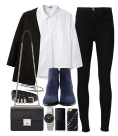 """Outfit for work"" by ferned ❤ liked on Polyvore featuring Frame Denim, Acne Studios, Topshop, The Kooples, Dolce&Gabbana, Alexander Wang, Skagen, NARS Cosmetics and Casetify"