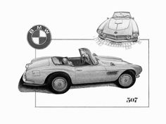 Bmw 507 Black And White Sketch Drawing