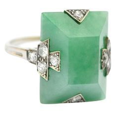 I would like to claim first dibs on this too-lovely-for-words vintage 1920s Jade Art Deco platinum, jadeite, and diamond ring. The cut, the color, the accents… absolute perfection.