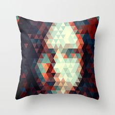 Abstract Triangle Face Throw Pillow
