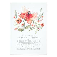 Watercolor Floral Wedding Invitation #rusticwedding red flowers